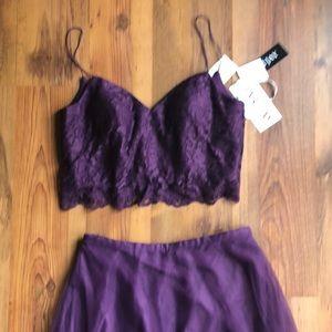 BARI JAY two piece plum dress